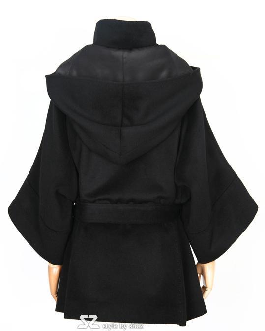 Womens Mäntel Damen Fell Kapuze lange Wollmäntel plus Größe Ponchos Mantel Oberbekleidung Mäntel 6819