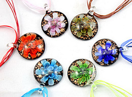 Wholesale Murano Pendants 3d - Round lampwork glass pendant necklace Fashion Italian Art murano 3D Flower Gold dust glass jewelry