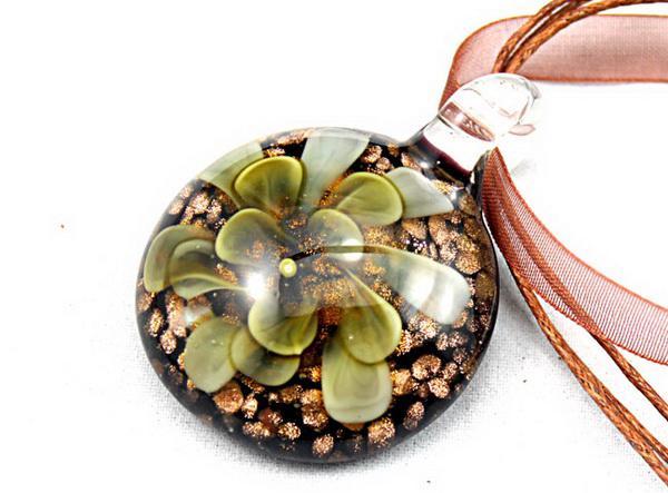 Runde Lampwork Glas Anhänger Halskette Mode italienische Kunst Murano 3D Blume Gold Staub Glas Schmuck