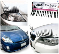 Wholesale automotive plastics - 60PCS(=30Pairs) X Black 3D Automotive Headlight Eyelashes Car Eye Lashes Auto 3D Eyelash 3D Car Logo Sticker Free shipping