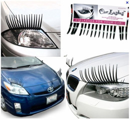 Wholesale Wholesale Auto Eyelashes - 60PCS(=30Pairs) X Black 3D Automotive Headlight Eyelashes Car Eye Lashes Auto 3D Eyelash 3D Car Logo Sticker Free shipping
