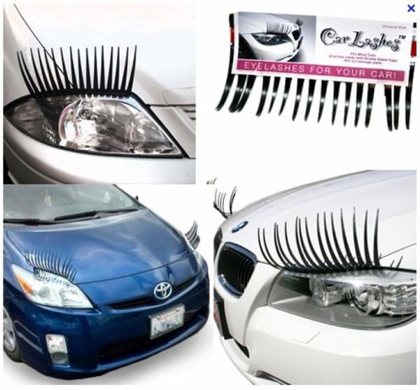 60 UNIDS (= 30 Pares) X Negro 3D Automóvil Faros de Pestañas Ojos de Coche Pestañas Auto 3D Pestañas Logotipo de Coche 3D Pegatina Envío gratis