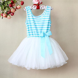 Wholesale Striped Purple Girl Dress - Hot Sale Girl Pettiskirt Dresses Blue Striped Children Princess Party Dress With Bowknot Kids Summer Clothing GD21113-12