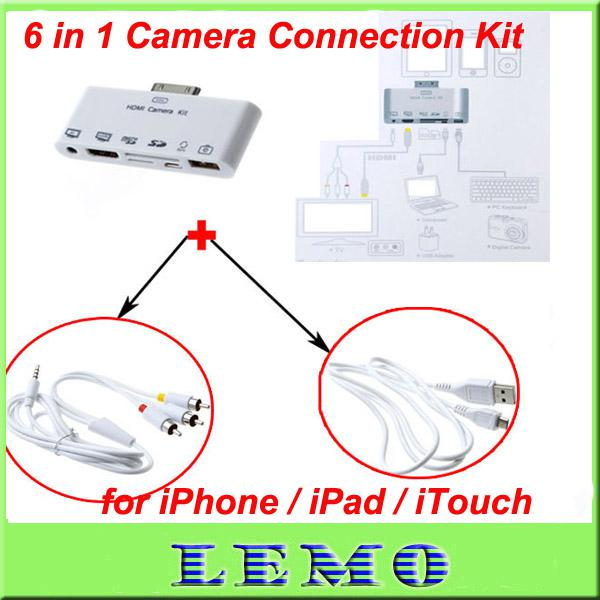 iphone camera connection kit 6 in 1 hdmi adapter connection kit usb tf sd for 15202