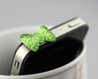Crystal Bowknot heart touchproof plug Anti Dust Plug 3.5mm fone de ouvido Jack Port para iphone 4 5 Mix Colors