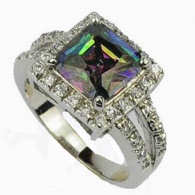 silver ring rings square brand fire hot natural mystic rainbow topaz solid new item sterling jewelry
