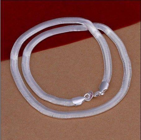 Blandad storlek 6mm (16,18,20,22,24) inches 925 Silver Snake Chain Halsband Mode Smycken Gratis frakt