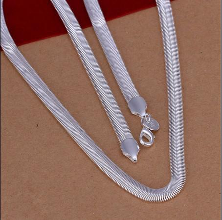 Mixed size 6MM (16,18,20,22,24) inches 925 silver snake chain necklace fashion jewelry free shipping