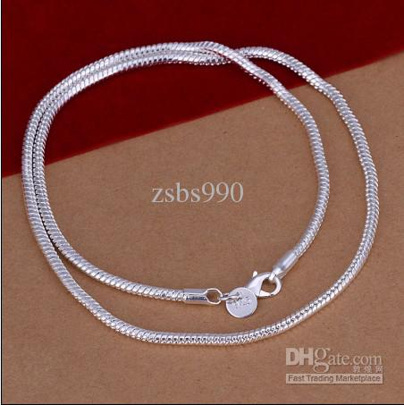 Mode Smycken 3mm (16,18,20,22,24) Inches 925 Silver Snake Chain Necklace Mixed Size Gratis frakt