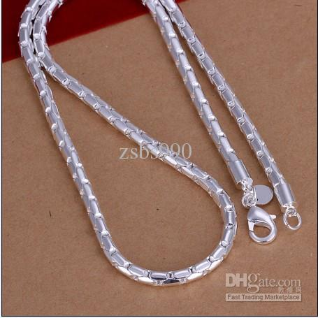 Brand new high quality 4MM 20inches 925 silver dollar grid chain necklace free shipping 10pcs/lot