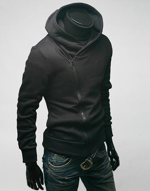 Man Fleece hooded long sleeved sweater jacket cable solid Hood male long sleeved brushed Assassins Creed