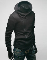 Wholesale Brushed Fleece - Man Fleece hooded long sleeved sweater jacket cable solid Hood male long sleeved brushed Assassins Creed