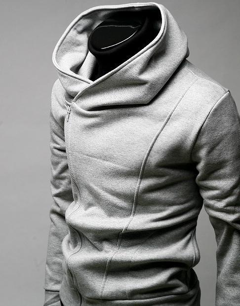 Homme polaire à capuche à manches longues pull veste câble solide Hood mâle manches longues brossé Assassins Creed