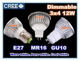 Wholesale E27 4x3w 12w Dimmable Led - DHL Free Shipping Ultra bright Led bulb 12W 4x3W GU10 MR16 E27 B22 E14 dimmable Led Light Lamp Spotlight bulb downlight lighting