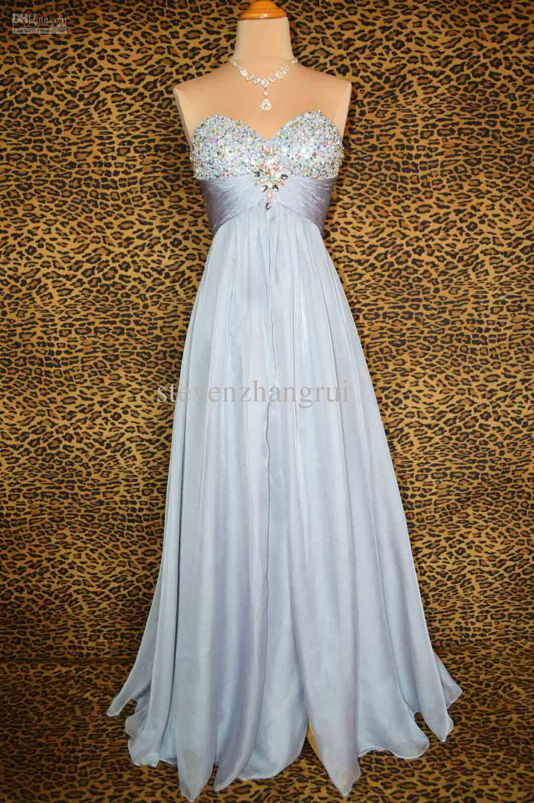 New Style Sexy Silver Beads Prom Dresses Elegant Long Sleeveless ...