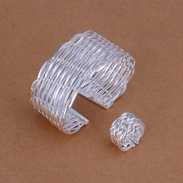 Wholesale Weave Earrings - Hot Sale Women's gift 925 Silver Bangle Rings set Opened Weaved Knit Fashion Jewelry Free Shipping S236