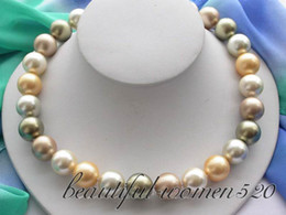 Wholesale 14mm Pearls - Fine Pearl Jewelry 14mm round multicolor south sea pearl necklace 18inches