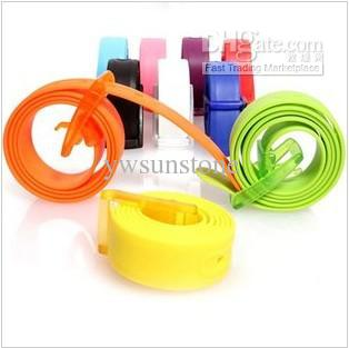 50pcs/lot Various Color Unisex Anti-Allergy Silicone Rubber belt ,fashion color rubber belts, Free Shipping By DH