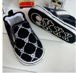 Wholesale Skull Baby Shoes Canvas - Wholesale Small black skull toddlers baby shoes baby shoe. Soft bottom non-slip shoes 15pair mix w01