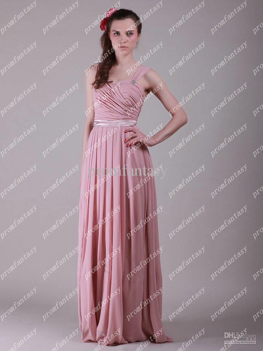 2016 New Long Pink Chiffon Evening Gowns Lace Up Beads Cheap Junior ...