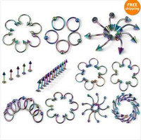 Wholesale Tongue Piercings Sale - 200X Hot Sale Body Jewelry Lot Titanium hoop Belly Tongue Ring Piercing [BB74-BB85(200)]