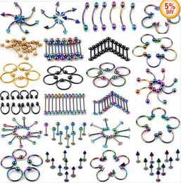 Wholesale Navel Ring Free Shipping - 5%OFF 120pcs Lots Mix Stainless Steel Belly Navel Tongue Lip Body Piercing Jewelry Free Ship [BB62-BB85(120)]