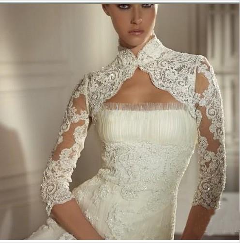 Hot New Arrival !! Snabb leverans Lace Beaded Wedding Bridal Jacka för Skönhet Bridal Wraps PJ009