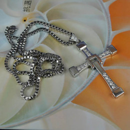 Wholesale 925 Italy Silver Necklace - Fast And Furious Five 925 Silver Cross Pendant Dominic Toretto Man Italy Chain