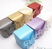 bomboniler için kutular toptan satış-Kelebek Desen Favor Favor Hediye Şeker Bomboniere Kutuları Düğün Parti Bebek Duş, 100 ADET / GRUP