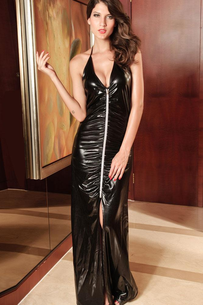 Sexy Black Long Wet Look Gown Dress Wholesale/Mixorder/In