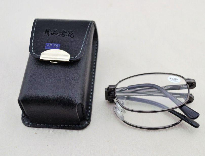 553db76d70 High Quality Metal Foldable Reading Glasses With Leather Case ...