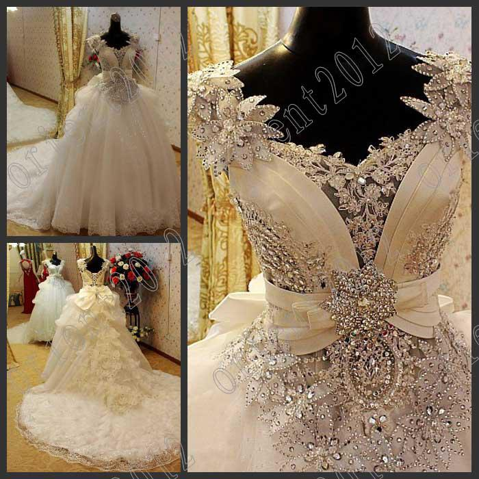 Lace Sleeves Wedding Dress with Crystals