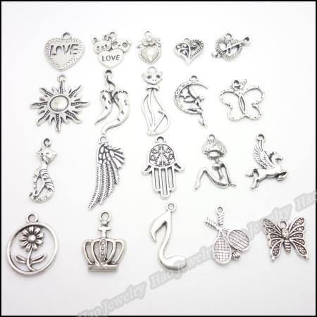 encanto Mixed prata antigo banhado pingentes de ligas de zinco em forma de pulseira colar de jóias DIY 200pcs / lot