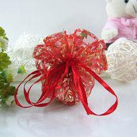 Wholesale Diameter Round Organza - Red Rose Round Organza Bag Wedding Favor Party 24cm   32cm Diameter Gift Bags New