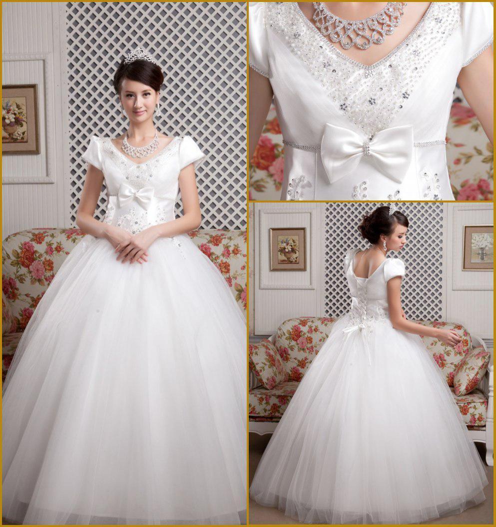Ball Gown Long Sleeve Beaded Crystal Applique Watteau: V Neck Cap Sleeves Bow Beaded Crystal Applique Princess