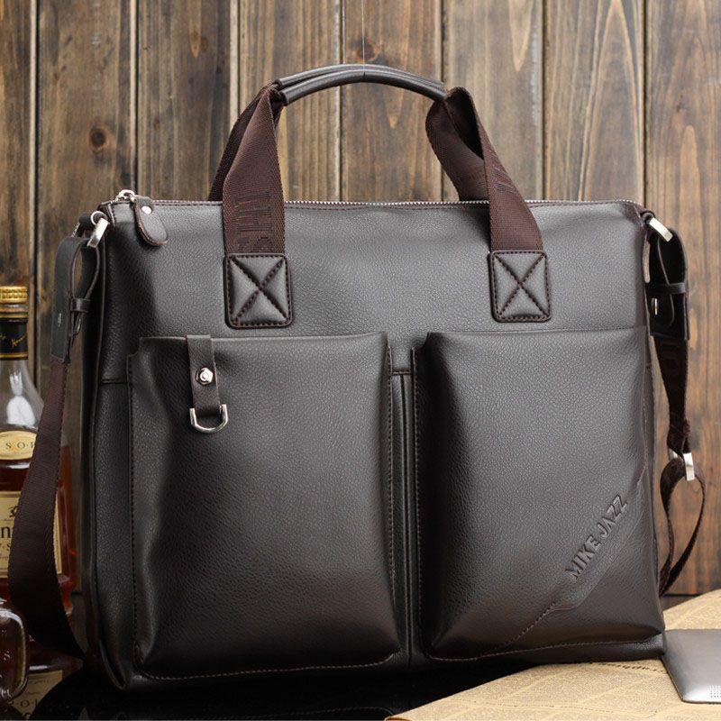 Genuine Leather Men's Shoulder Messenger Bag Briefcase Bag For Men ...