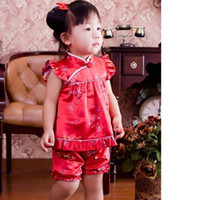 Wholesale Baby Sets Girls Qipao - baby Qipao sets Girls' suits kids' outfits NEW YEAR girl's top baby dress babies shorts ZK02