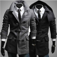 Wholesale Cashmere Hooded Hat - New Fashion men woolen imitate-horn button coat jacket overcoat topcoat with detachable cap hat 2 color 1401F13