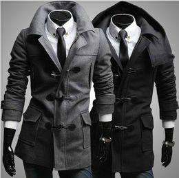 Wholesale Horn Buttons Men Fashion - New Fashion men woolen imitate-horn button coat jacket overcoat topcoat with detachable cap hat 2 color 1401F13