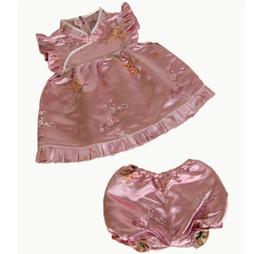 Wholesale Baby Sets Girls Qipao - floral baby sets girls' suits tank top qipao embroider silk shorts pant dress T-shirts 13 designs