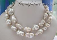 "Wholesale Keshi Pearl White - Fine Pearls Jewelry 33"" 18-22mm BAROQUE WHITE KESHI REBORN PEARL NECKLACE"