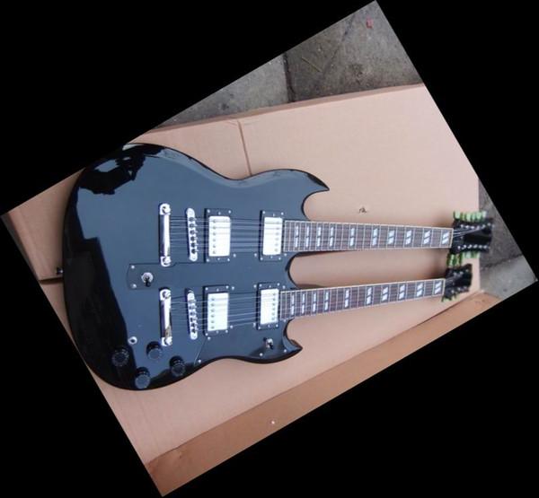 110226 Double Neck 12/6 strings guitar Led Zeppeli Page 1275 Black