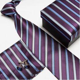 Wholesale Necktie Hanky Cuff - neck tie set neckties men's ties tie cufflinks hanky square pocket handkerchief cuff link tower ZK05