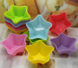 Wholesale Silicone Star Baking Cup - Hot 7cm star-shape silicone Cake Cup cake mold cupcake Baking mold Muffin pudding molds 180pcs free shipping