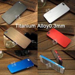 Wholesale Iphone Case Titanium - New Ultra Thin 0.3mm Titanium Alloy Brushed Metal Fashion Luxury Hard Case Cover For Apple iPhone 5