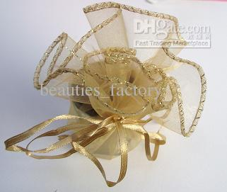 100pcs Gold Round Organza Bags Wedding Favor Party Gift Bag New Wedding Favors