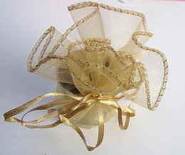 Wholesale Party Paper Wrap - 100pcs Gold Round Organza Bags Wedding Favor Party Gift Bag New Wedding Favors