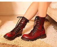 Wholesale Womens Blue Cowboy Boots - Retro Distressed Women's Leather Boots Genuine Leather Red Blue Boots 8 Holes Womens Martin Boots 4 Colors