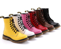 Wholesale Western White Lace Tops - 6 colors Chic Avril Lavigne Top Cowskin 8 holes Martin boots genuine leather durable ankle boots