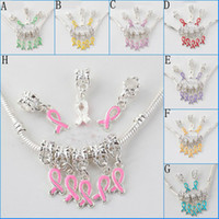 Charms Plated Silver European Big Hole Dangle Spray Ribbon Breast Cancer Bead Fit Bracelet Jewelry